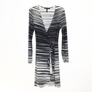 BCBG Striped Jersey Wrap Front Dress